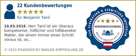 Qualitätssiegel makler-empfehlung.at für Benjamin Tanil