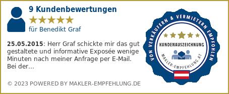 Qualitätssiegel makler-empfehlung.at für Benedikt Graf
