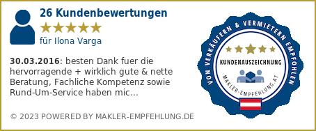 Qualitätssiegel makler-empfehlung.at für Ilona Varga
