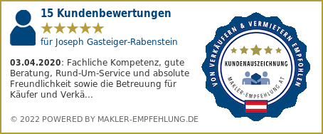 Qualitätssiegel makler-empfehlung.at für Joseph Gasteiger-Rabenstein