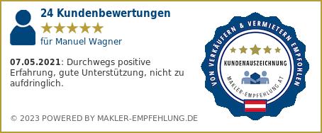 Qualitätssiegel makler-empfehlung.at für Manuel Wagner