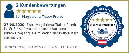 Qualitätssiegel makler-empfehlung.at für Magdalena Tiatco-Frank