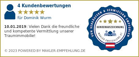 Qualitätssiegel makler-empfehlung.at für Dominik Wurm